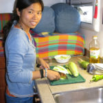 It was Green's turn to cook and she always loved it. Can you tell? She did not slice vegetables. She carved them!