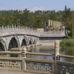 The modern entrance to the Yungang Grottoes led us over a small lake to a fabulous museum.