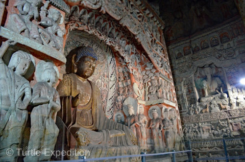 The figures carved out of sandstone and painted inside the grottoes were exquisite.