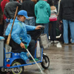 The ever-present trash ladies had cute little electric scooters to zip around snatching cigarette butts and candy wrappers.