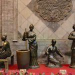 These four bronze women were refining and weaving silk. Not to forget, the silk worms made it.