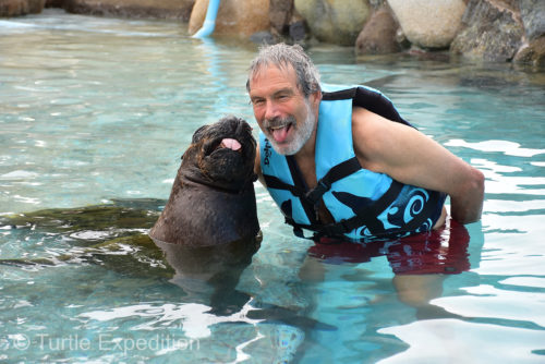 Gary and sea lion Heidi were goofing around.