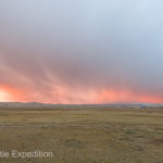 The entire sky took on a tangerine glow, reflecting off the dusting of snow that had fallen during the night.