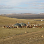 "To our surprise, we came upon a ger (yurt) camp right next to the ""main highway""."