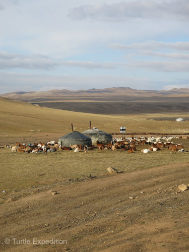 """To our surprise, we came upon a yurt camp right next to the """"main highway""""."""