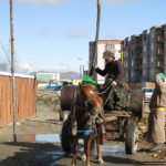 Getting water from a community well was still a common site in Mongolia.