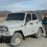 We sped across the Western Grasslands of Mongolia in this unheated rattle-trap UAZ, only slightly more comfortable than a camel would be.