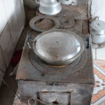 This simple metal stove was the source of heat and cooking fueled with horse, camel and cow dung.