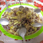 The girls prepared a delicious dish of mutton, noodles and potatoes, Kazakh style. Grab a spoon and dig in.