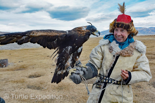 Monika was excited to be allowed to hold this Golden Eagle, a three-year old female that had placed 5th (of 72) in the recent competition. (See previous blogs.)