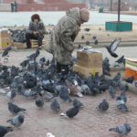 Even in freezing temperatures, locals still took time to feed the pigeons in the plaza.