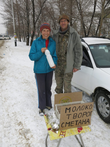 In the morning this man was selling fresh milk. He welcomed us to Khabarovsk with a complementary liter.