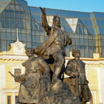 In the Central Square three impressive monuments pay tribute to the Fighters for Soviet Power.