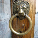 A classic door knocker was unique and yet familiar.