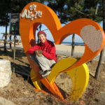Monika could not resist to pose in this pretty heart on Samcheok Beach.
