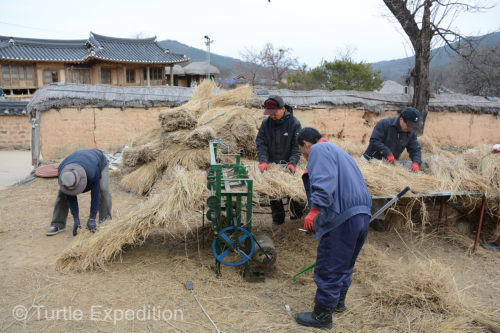 Locals were using an interesting rice straw stitching machine to create long rolls of roofing materials.