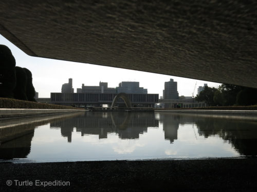 Hiroshima Peace Museum's reflection in the Peace Pond