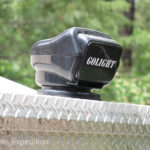 A roof mounted Golight® is controlled by a hand-held remote on the dash and in the camper.