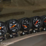 Also at driver's eye level are mechanical Auto Meter gauges for Volts, Water Temp, Oil Pressure, Boost, Exhaust Gas Temp.