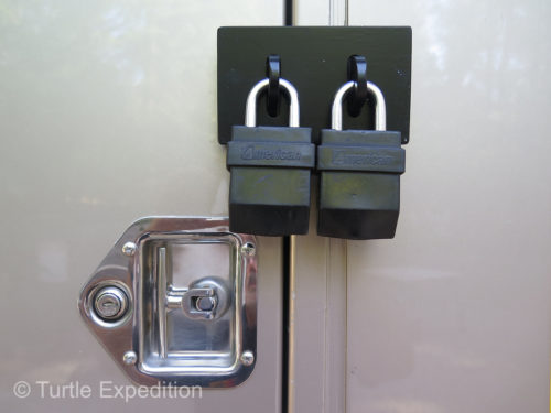When we ship the truck or park in non secure areas, all outside doors can be locked or even double locked.