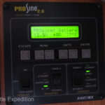 The ProSine information panel gives us current battery voltage, rate of charge, battery temperature and enables us to switch from inverter to charger.