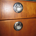 Stainless SouthCo marine latches were used to keep drawers and doors closed on rough roads.