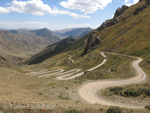 As we started down this amazing set of switchbacks in Kyrgyzstan, we could imagine a string of camels coming up heavily loaded with the treasures of The Silk Road.