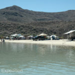 Life is good on the Sea of Cortez in Baja California where we could put our awning at the edge of the high tide mark.