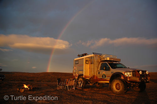 A remote camp on the Pacific of Baja California gave us an evening light show and almost a double rainbow.