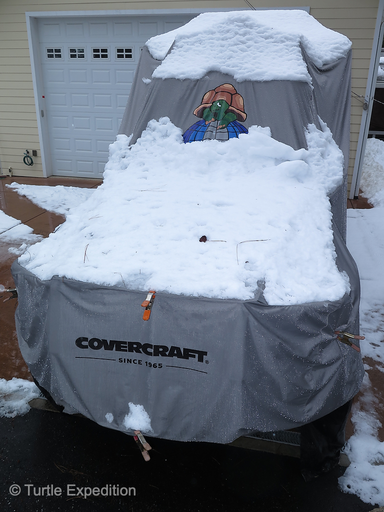 The Turtle V is safely tucked under a Covercraft cover awaiting warmer weather.