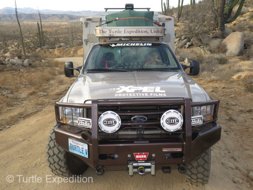 The Turtle V in Baja California last month; 200,000 miles of adventure; No rock chips!!; Clean clear headlights; Thanks to XPEL Protective Films!!